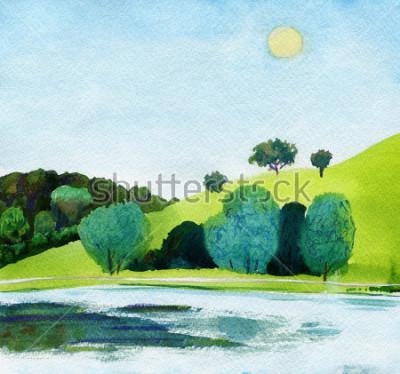 Obraz Piękna akwarela publicznego parku z jasnym jeziorem w świetle dziennym. Oryginalne pejzaże akwarelowe.