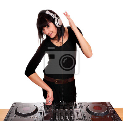 piękna dziewczyna odtwarzanie muzyki dj