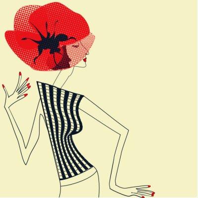 Obraz Piękna dziewczyna z kwiatem maku