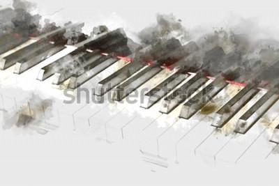 Obraz Piękna klawiatura fortepianowa na tle akwarela. Cyfrowe malarstwo akwarelowe fortepian