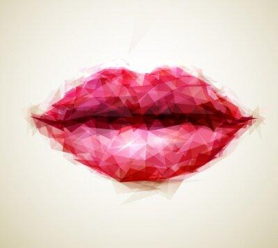 Obraz Piękna kobieta usta abstrakcyjne trójkąty utworzone przez