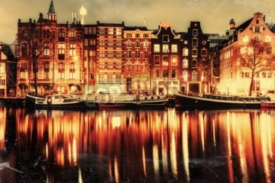 Obraz Piękna noc w Amsterdamie. oświetlenie