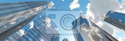 Obraz Piękna panorama drapacze chmur, 3D rendering
