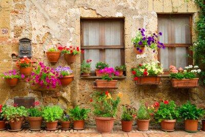 Obraz Piękna ulica ozdobiona kwiatami we Włoszech