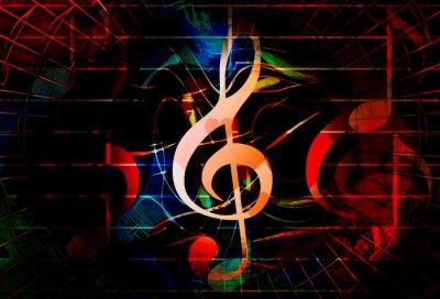Obraz piękne abstrakcyjne kolorowy kolaż z nut i kluczu skrzypiec.
