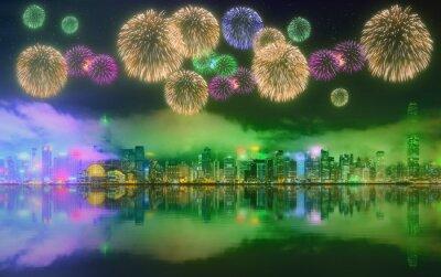 Piękne fajerwerki w Hong Kongu