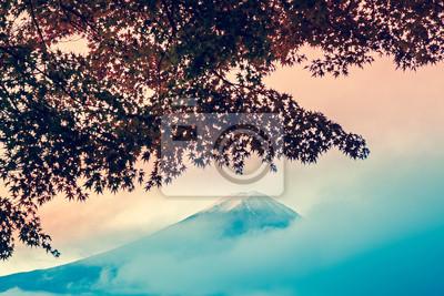 Piękne Mt Fuji za klonu od jeziora Kawaguchi