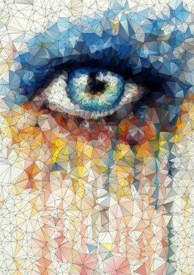 Obraz piękne oczy w geometryczne stylizacji abstrakcyjne geometryczne tle