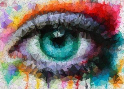 Obraz piękne oczy w stylizacji geometryczne abstrakcyjne geometryczne tle