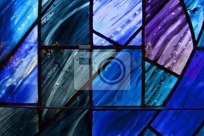 Obraz Piękne odcienie ciemnoniebieskiego i fioletowego na niepowtarzalnym kształcie witraży.