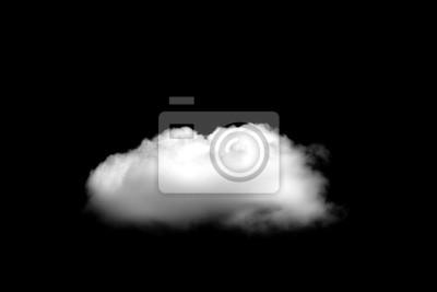 Obraz Piękne Pojedyncze białe chmury samodzielnie na czarnym tle