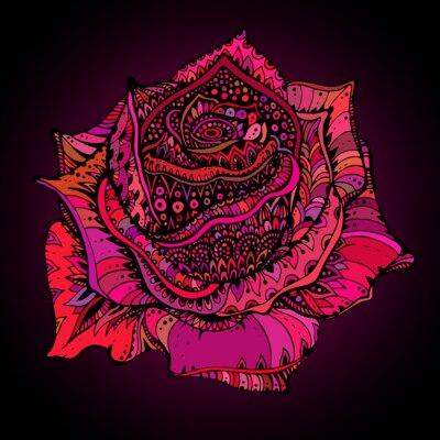 Obraz Piękne ręcznie rysowane ozdobny kwiat róży w stylu doodle