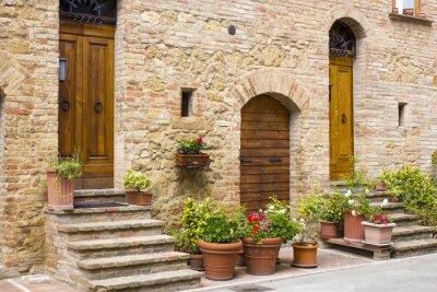 Obraz piękne toskańskie ulica, Pienza, Włochy