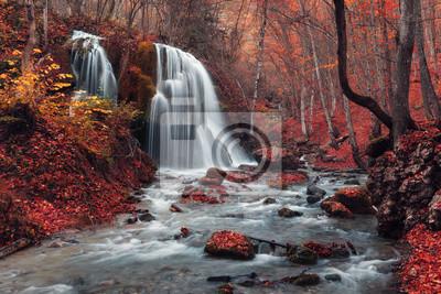 Piękne wodospad w lesie jesienią