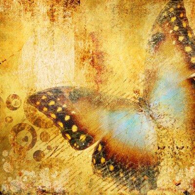 Obraz piękne złote abstrakcji z motylem