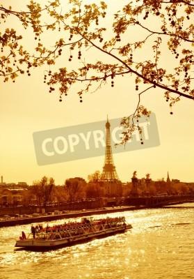 Obraz Piękne Złotego słońca w Sekwany, Paryż, Francja