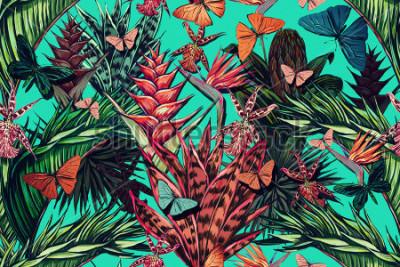 Obraz Pięknego rocznika bezszwowej kwiecistej dżungli deseniowy tło. Kolorowe akwarele tropikalne, liście palmowe i rośliny, motyle, rajski kwiat, egzotyczny nadruk