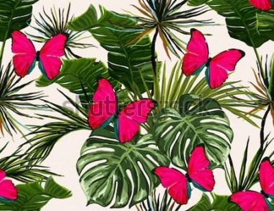 Obraz Piękny bezszwowy wektorowy kwiecisty lato wzoru tło z tropikalnymi palmowymi liśćmi i motylami. Idealny do tapet, tła strony internetowej, tekstur powierzchni, tekstyliów.