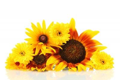 Obraz Piękny bukiet z jasnych kwiaty, na białym tle.