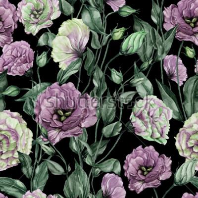Obraz Piękny eustoma kwitnie z liśćmi i zamykającymi pączkami na czarnym tle (lisianthus). Kwiatowy wzór. Malarstwo akwarelowe. Ręcznie malowane ilustracji botanicznych. Tapeta, wzornictwo tekstylne.