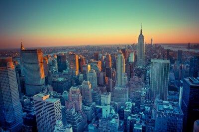 Obraz Piękny Nowy Jork widziany z góry o zachodzie słońca