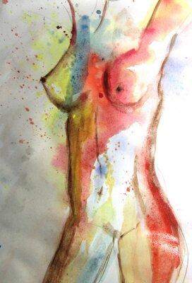 Obraz Piękny obraz akwarela z ciała kobiety