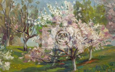 Obraz Piękny obraz olejny drzewa kwitnienia w letnim ogrodzie krajobraz na płótnie