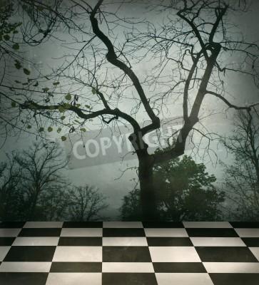 Obraz Piękny surrealistyczne tło drzew i czarno-biały w kratkę podłogi w stylu grungy