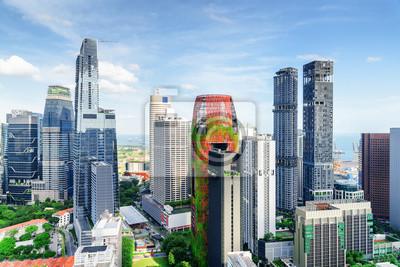 Piękny widok drapaczy chmur w Singapur. Pejzaż letni