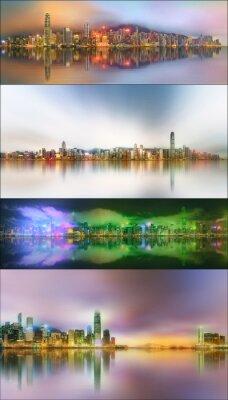 Piękny zestaw pejzaż i collage dzielnicy finansowej, Hong Kongu