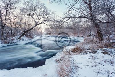 Piękny zimowy zachód słońca na rzece Krinka. Las na Ukrainie