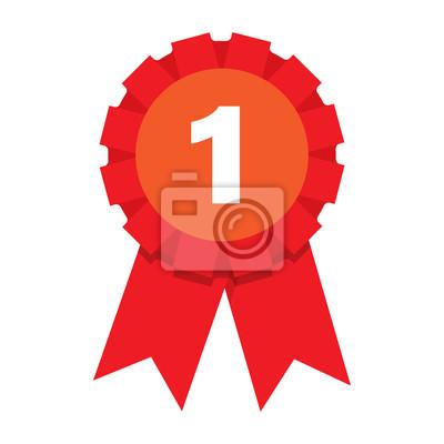Obraz Pierwsze miejsce nagroda znak. Ikona medal zwycięzcy.
