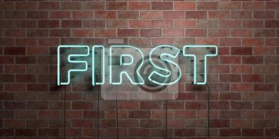 Obraz Pierwszy - fluorescencyjna Neon rurki znak na murze - widok z przodu - 3D renderowane obraz royalty free. Może być stosowany do internetowych reklam i banerów bezpośrednich koperty ..