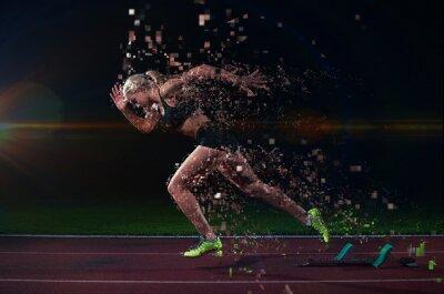 Obraz piksele konstrukcja kobieta sprinter pozostawiając blokach startowych