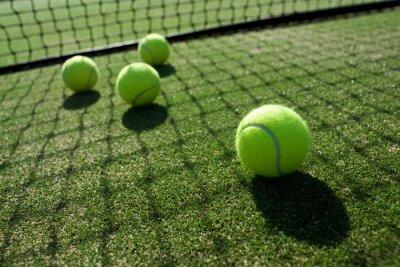 Obraz piłki tenisowe na trawie kort tenisowy