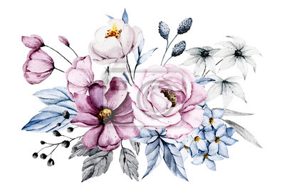 Obraz Pink and blue flowers, leaves watercolor floral clip art. Bouquet perfectly for printing design on invitations, cards, wall art and other. Isolated on white background. Hand painting.