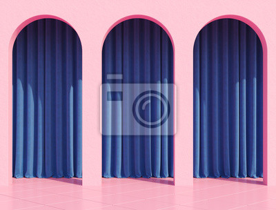 Obraz Pink arc column with colorful curtains and tropical home plant for retro poster like stranger things. 80s 70s 60s California Miami. 3d rendering