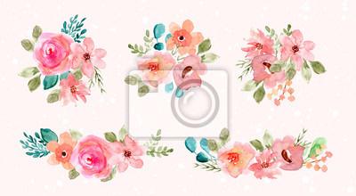 Obraz pink green watercolor flower arrangement collection