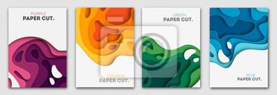 Obraz Pionowe banery ustawione z 3D abstrakcyjne tło i kształty cięcia papieru. Układ projektu wektorowego dla prezentacji biznesowych, ulotek, plakatów i zaproszeń. Kolorowa sztuka rzeźbiarska