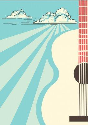 Obraz Plakat muzyki country z gitara akustyczna instrument muzyczny. Tło wektor błękitne niebo