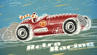 Obraz Plakat retro wyścigi samochodowe