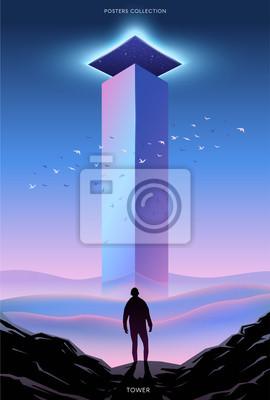 Obraz Plakat wektor surrealistyczne. Motywacja i sukces.