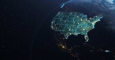 Obraz Planet Earth from Space USA, United States highlighted state border and counties animation