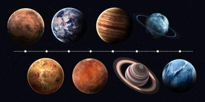Obraz Planet Układu Słonecznego, Pluton i słońce w najwyższej jakości i rozdzielczości. Elementy tego zdjęcia dostarczone przez NASA