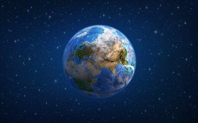 Planeta Ziemia. Europa i Azja z kosmosu.
