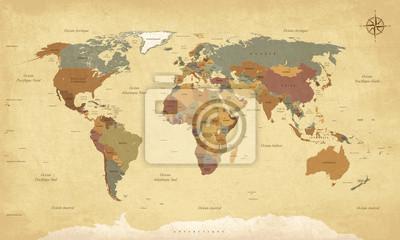 Obraz Planisphère Mappemonde vintage - Textes en français. vecteur