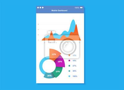 Plansza deska rozdzielcza szablon, wykresy i wykresy