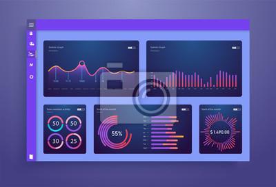 Plansza deska rozdzielcza szablon z Płaska konstrukcja wykresy i wykresy. Elementy grafiki informacyjnej.