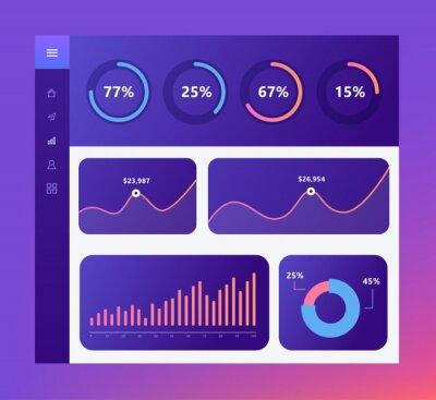 Plansza deska rozdzielcza szablon z Płaska konstrukcja wykresy i wykresy w ciemnych kolorach. Elementy grafiki informacyjnej.