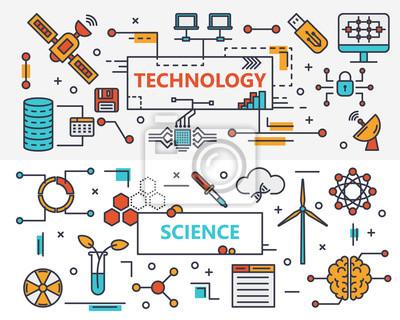 Płaska konstrukcja cienka linia Płaska konstrukcja technologii i nauki banery
